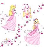 Детски барби комплект от 5 части за малки принцеси, 2бр. завеси,1бр. деко перде и 2бр. коланчета за превързване на завесите