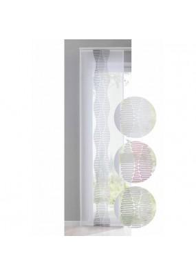 Готова панел завеса-японска стена от фин муселин с ленена текстура, размер 245x60см. за окачване на ПВЦ или алуминиева релса, код-10000309