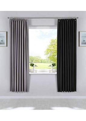 Затъмняваща 100%, плътна завеса с пришита ширит лента за релса или за директен монтаж на стъкло с вендузи, размер 200x130, код-10000335