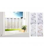 Декоративно бяло перде за кухня от фин муселин с бродерия на цветни вълни за поставяне на корниз, размер 40x120 (височина x ширина) код-112241