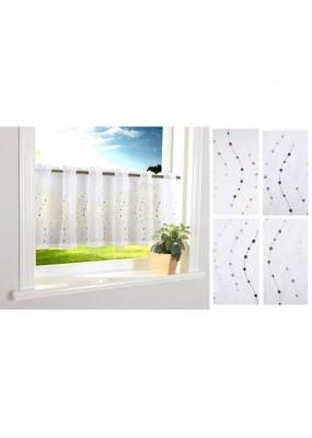 Декоративно бяло перде за кухня от фин муселин с бродерия на цветни точки за поставяне на корниз, размер 40x120 (височина x ширина) код-112242