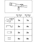 Разтегателен, телескопичен метален тръбен корниз  ф16/19mm. с накрайници-цилиндър, плюс трегери за монтаж, размер 120-210см. цвят сив-оптик код-30950