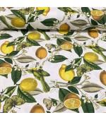 """Плат на лимони,пеперуди и птички за завеси, покривки,тишлайфери,шалтета,дамаска """"DUCK"""",водоустойчив,  65% памук 35% полиестер, 215гр./м², код-150758"""