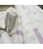 Органза-батиста с бяла основа на лилави,бежови и кремави геометрични фигури,ширина 3 метра с оловна нишка, код-R2382-006