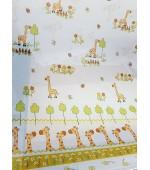 Детски прозрачен плат за пердета, десен-Жирафчета, височина 300см. код-7033