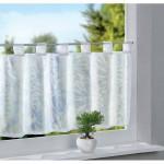 Бяло декоративно перде за кухня с ленти-уши от муселин-воал на флорални плътни и прозрачни ивици, размер 43x100см. (височина x ширина) код-20190420