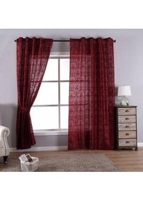 Полупрозрачна завеса стил БАРОК, цвят бордо, 245х140 (височина х ширина) подходяща за релса и тръбен корниз, код-20200