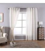 Полупрозрачна завеса стил БАРОК, цвят крем, 245х140 (височина х ширина) подходяща за релса и тръбен корниз, код-20202