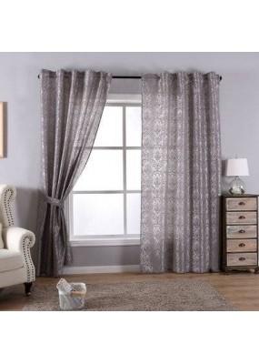 Полупрозрачна завеса стил БАРОК, цвят сив, 245х140 (височина х ширина) подходяща за релса и тръбен корниз, код-20201