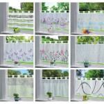 Декоративни пердета за кухня с ленти-уши от муселин-воал на цветя,геометрични фигури, детски апликации, размер 43x160см. (височина x ширина) код-202071-2