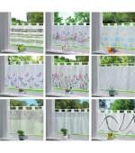 Декоративни пердета за кухня с ленти-уши от муселин-воал на цветя,геометрични фигури, детски апликации, размер 43x100см. (височина x ширина) код-202071