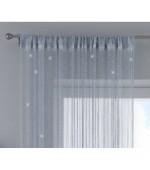 Готово перде на ресни, цвят сребрист с лъскав ефект, пришита универсална ширит лента (перделък) подходящо за поставяне на корниз и релса, размер 270x140см. код-203031