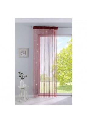 Готовo перде на ресни, с лъскав ефект, цвят червен с пришита универсална ширит лента (перделък) подходящо за поставяне на корниз и релса, размер 250x140см. код-203036