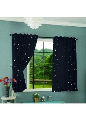 Детска светеща през нощта флуоресцентна завеса, Звездна нощ, цвят син, размер 175x145см. код-204951