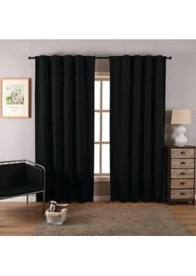 """Плътна завеса от плат """"Блекаут""""  за максимално затъмнение, с пришита ширит лента за окачване на релса или тръбен корниз, цвят черен, размер 245x135см. код-20612"""