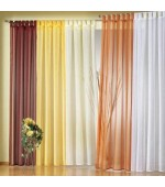 Полупрозрачно нежно  перде от фин муселин в изключително богата гама от цветове  с ленти за окачване на корниз и пришита ширит лента за релса с размер 245x140см. (височина x ширина в опънато състояние)