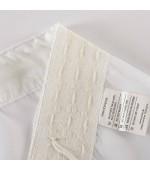 Готово ефирно бяло перде от фин муселин с оловна нишка в 29 размера с пришита универсална ширит лента -перделък  готово веднага за поставяне на релса или корниз, код-610011