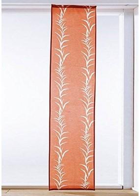 Стилна, модерна панел завеса с лазерно изрязани в плата флорални елементи, цвят оранжев, размер 245x57см. (височина x ширина), поставя се на обикновена ПВЦ или алуминиева релса-007997