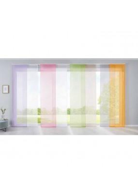 Полупрозрачна плъзгаща се панел завеса от фин муселин в изключително богата гама от цветове с размер 245x60см. за окачване на ПВЦ-релса