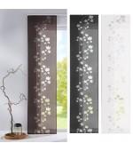 Стилна панел завеса от фин муселин с изрязани в плата флорални елементи в три цвята, размер 245x60см. (височина x ширина), поставя се на обикновена ПВЦ или метална релса