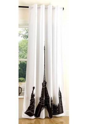 Завеса в бяло и черно с дигитално отпечатана щампа модел-Париж, за окачване на релса или тръбен корниз, размер 245x140см.(височина x ширина) код-20491