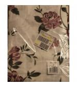 Полупрозрачно  готово перде на рози, цвят бял, лилав и зелен с пришита ширит лента и гайки  за окачване на релса или корниз, разнообразни размери, код-84264