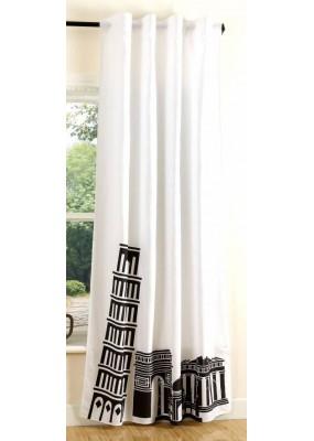 Завеса в бяло и черно с дигитално отпечатана щампа модел-Пиза, за окачване на релса или тръбен корниз, размер 245x140см.(височина x ширина) код-20493