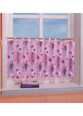 Детско  декоративно перде от муселин за момичета с ленти за окачване на корниз размер 50x155