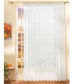Ефирно бяло перде от фин муселин в 29 размера с пришита универсална ширит лента -перделък  готово веднага за поставяне на релса или корниз
