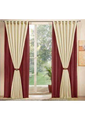 Комплект от 4бр. еднакви  тафта завеси всяка с размер 245 x 145см. в изобилие от избираеми  цветови комбинации. Към всяка завеса има коланче за превързване.