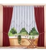 Комплект от 3 части - 2бр. стилни елегантни тафта завеси  и 1бр.  бяло дантелено перде с красиво втъкани флорални елементи