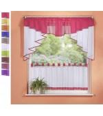 Комплект от 2 части 1бр.филирани декоративни бели завеси с цветна  драперия и 1 бр. малко деко перде в богата гама от цветове