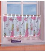 Мини детско перде от муселин с барби принцеси за момичета ,с ленти за окачване на корниз размери 50x155