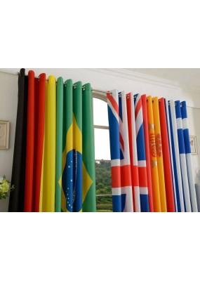 Тафта завеси с изобразени националните флагове на 6 държави с вградени халки за тръбен корниз, размер 245x140см.