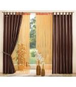 Комплект от 4 части - 2бр. леко лъскави тафта завеси  и 2бр. пердета на ресни в пастелни цветове в изобилие от модни цветови комбинации