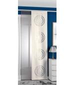2 броя в пакет панел завеси тип японска стена, една прозрачна цвят сив и една плътна цвят крем на изрязани в плата кръгове всяка с размер 245 x 60см. (височина x ширина в см.)